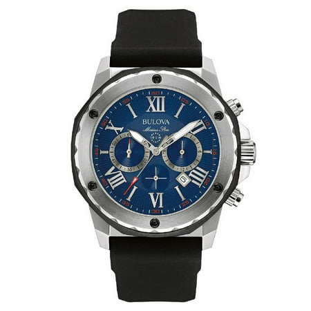 98B258 Men's Marine Star Blue Dial Black Silicone Strap Chronograph (Bulova Marine Star)