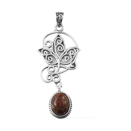 925 Sterling Silver Oval Fire Opal Matrix Fashion Pendant for