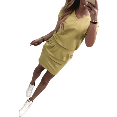 Women Casual Short Sleeve Button Pocket Wrap Hip T-shirt  Dress Ladies Summer Slim Waist Tunic Mini Dresses