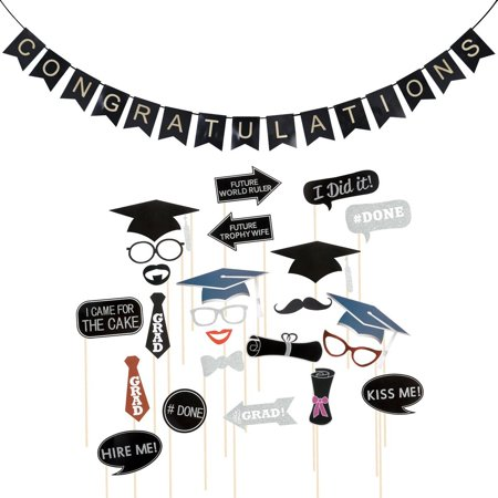 24pcs graduation photo booth props congratulations bunting banner
