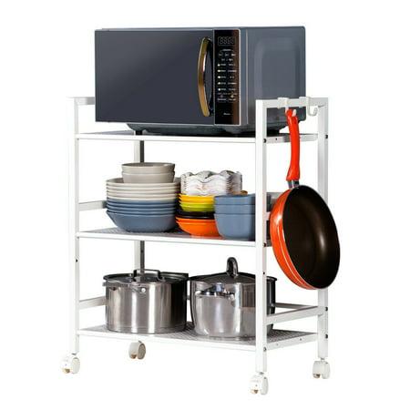 Utility Kitchen (Zimtown 3-Tier Shelf Wire Mesh Rolling Cart Serving Utility Organization Kitchen Cart )