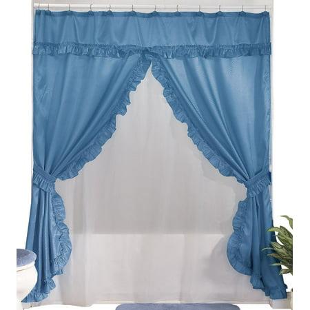 Lauren Double Swag Shower Curtain Light Blue