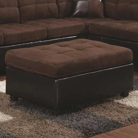 Chocolate Brown Finish Wood - Transitional Faux Leather and Wood Ottoman With Tufting, Chocolate Brown