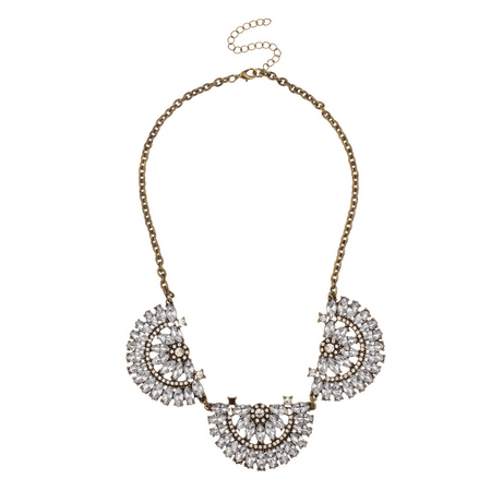 Lux Accessories Burnished & Crystal Semicircle Bib Statement Necklace. Crystal Bib Statement Necklace