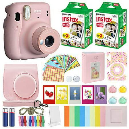 Fujifilm Instax Mini 11 Fuji Instant Film Camera Blush Pink + 40 Film Deluxe Bundle