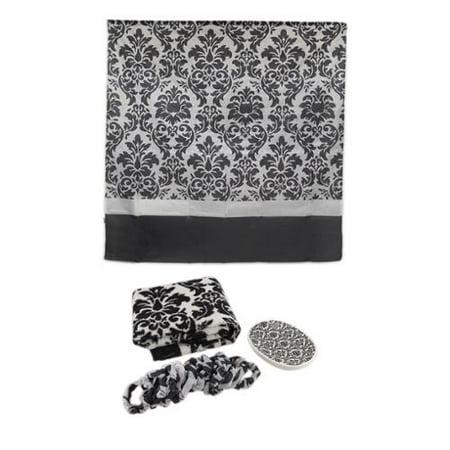 zeckos coordinating bath rug soap dish shower curtain set pattern
