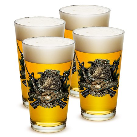 Pint Glasses – Marine Gifts for Men or Women – Marine Devil Dog First in Last Out Beer Glassware – Beer Glasses with Logo - Set of 4 (16