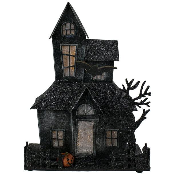 "10.25"" Glittered Black LED Lighted Halloween Haunted House"