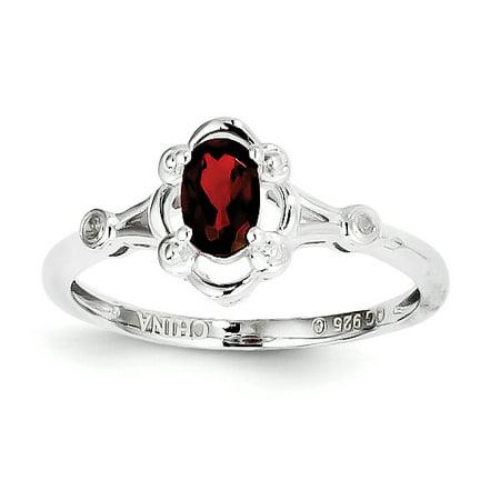 Sterling Silver Rhodium-plated Garnet & Diamond Ring](January 26 Birthstone)