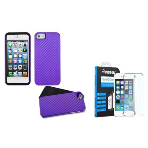 iPhone SE / 5S / 5 Purple Crosshatch Fusion Case by Insten (with Shatter-Proof Tempered Glass Screen Protector)