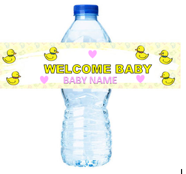 Baby Duck Baby Shower Girl  Party Decorations -  15ct Water Bottle Labels Stickers