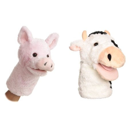 Set of 2 Farm Animal Hand Puppets, COW & PIG, 10