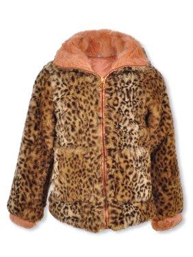 Jessica Simpson Girls' Trimmed Leopard Reversible Jacket
