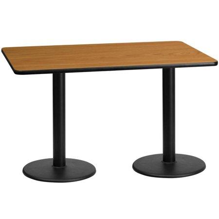 30'' x 60'' Rectangular Natural Laminate Table Top with 18'' Round Table Height Bases (Rectangular Natural Base)