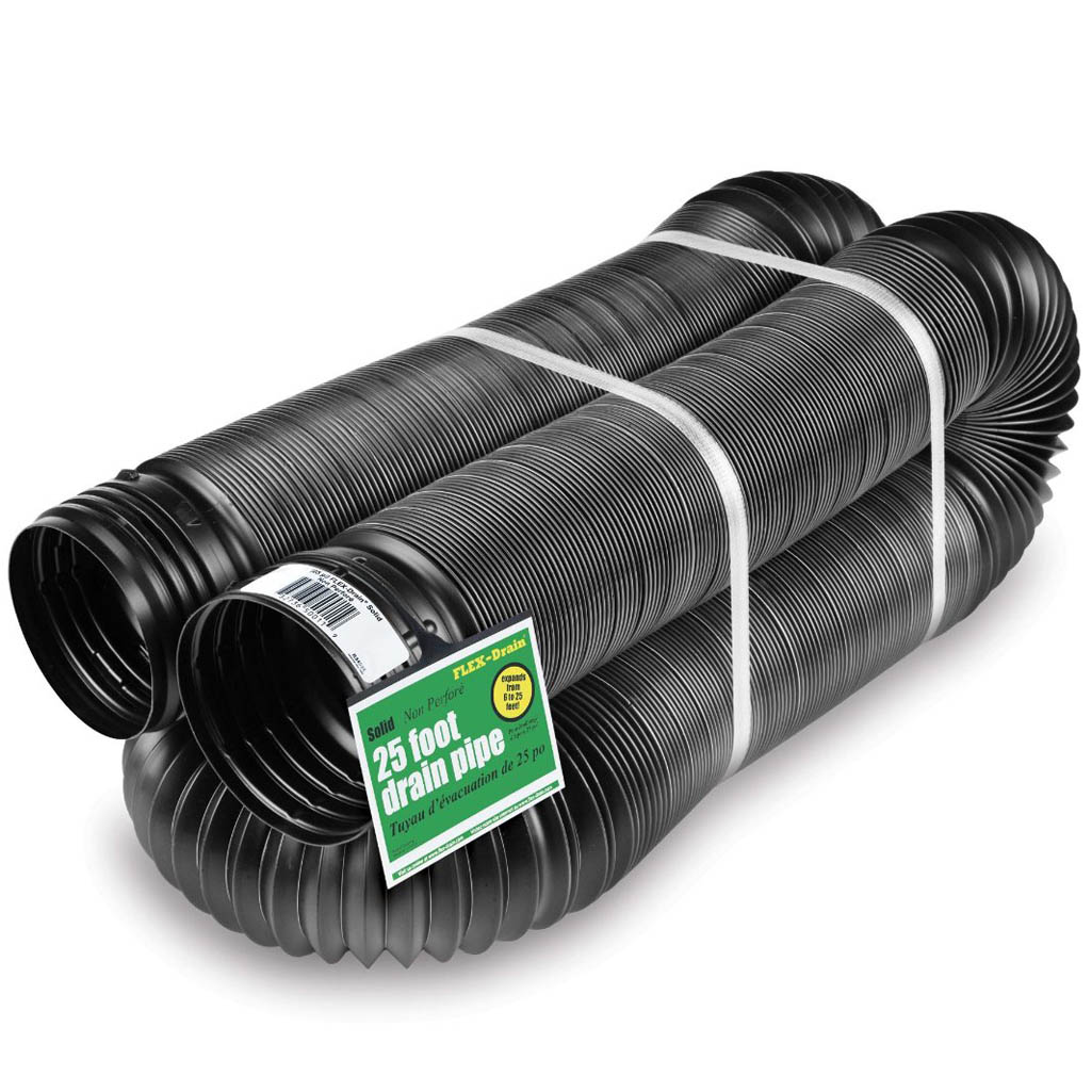 Solid Corrugated Expandable Flexible Landscape Drain Pipe, 4-Inch by 25-Feet