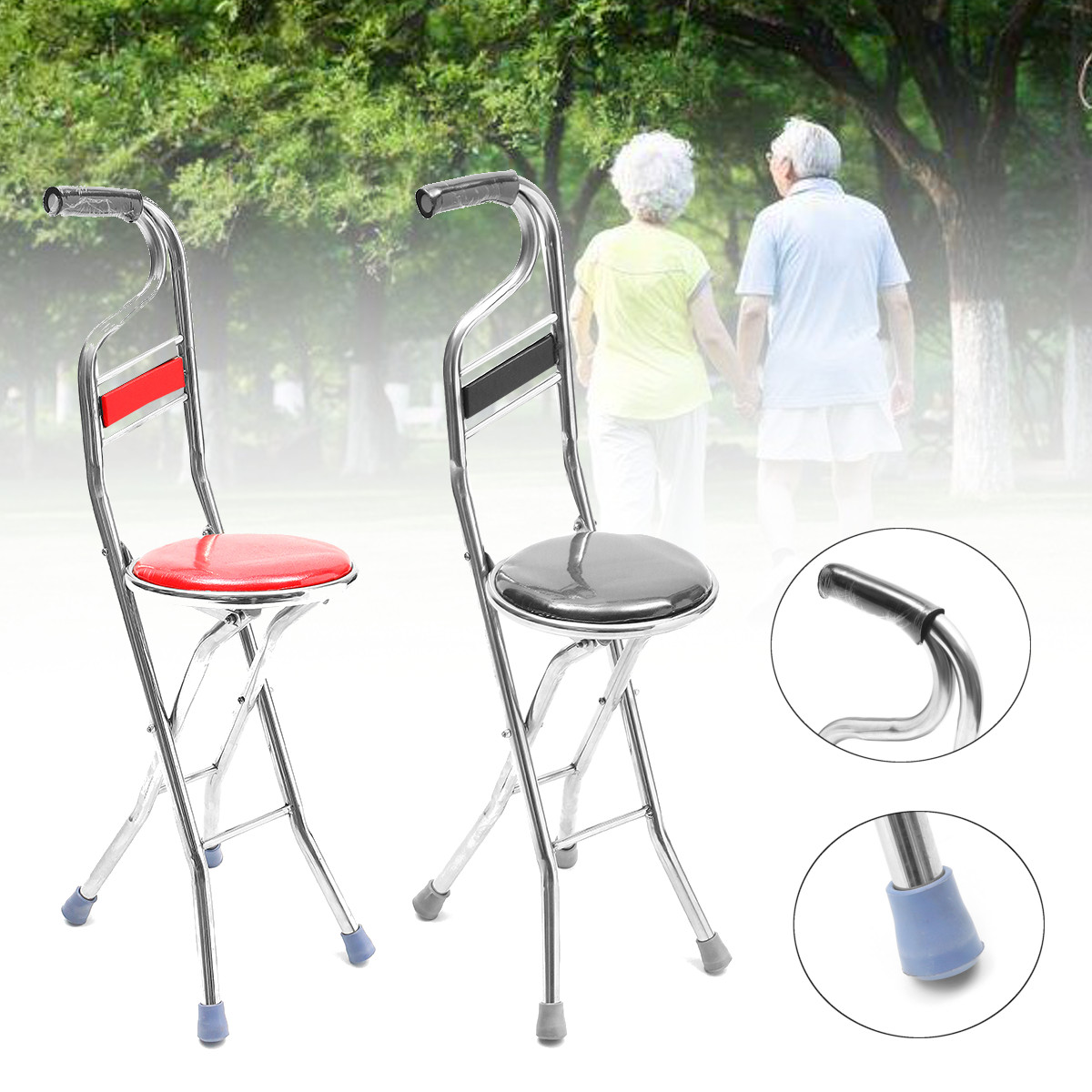 Merveilleux 2 In 1 Adjustable Stainless Walking Cane Stick Elderly Care Portable  Folding Walking Stick Travel Cane