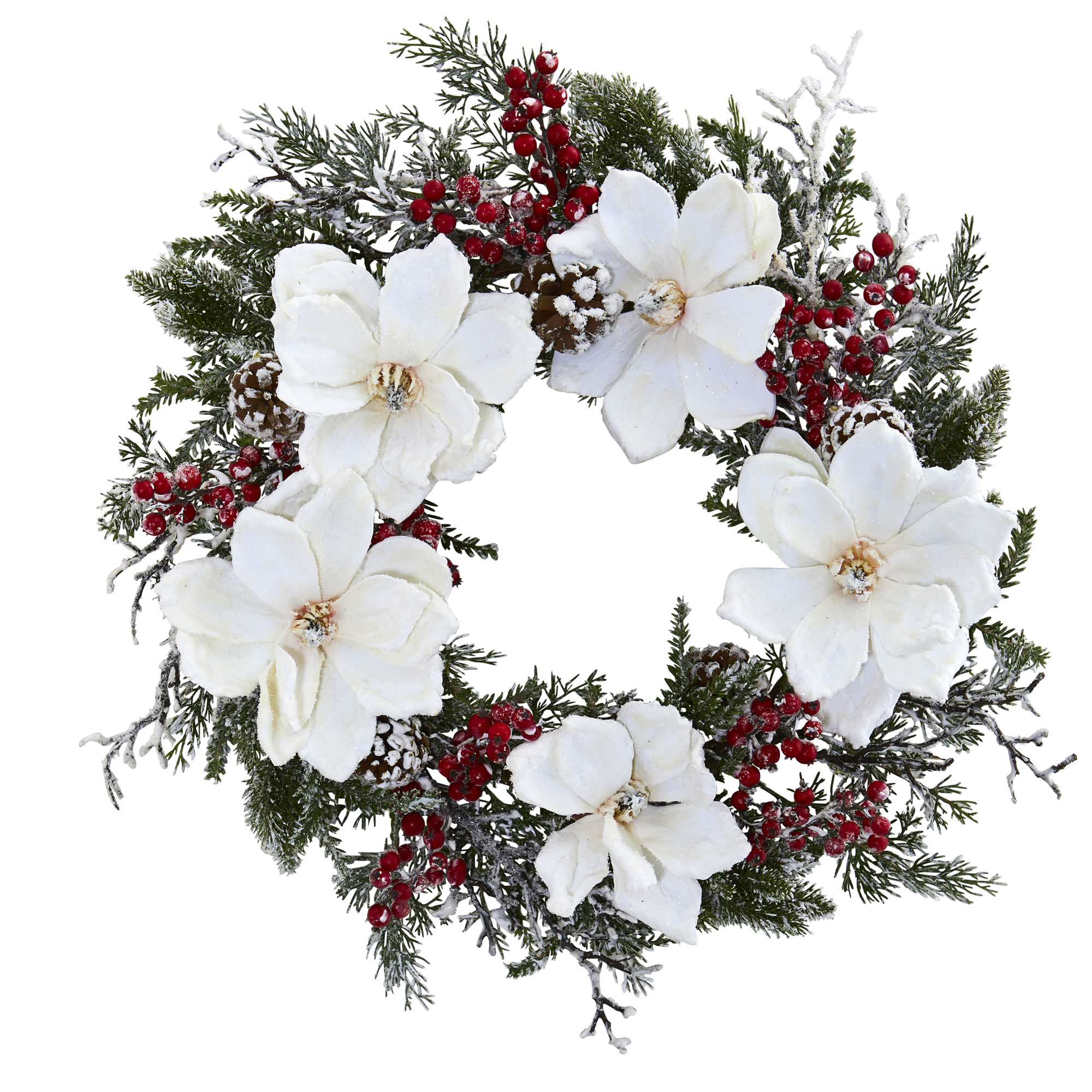 Nearly Natural artificial indoor 22'' Snowed Magnolia & Berry Wreath
