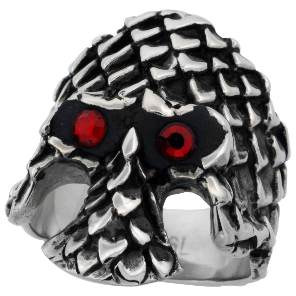 Stainless Steel Gothic Skull Ring Scaly Armor Red CZ Eyes Biker Rings for men 1 3/16 inch, sizes 9-15