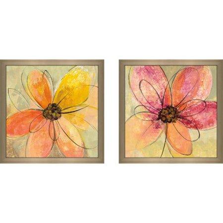 Latitude Run 'Neon Floral II' 2 Piece Framed Watercolor Painting Print Set (Neon Run Orlando)