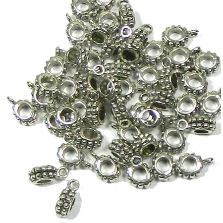 50 Pendant Bails Bead Hangers Antiqued Silver 3mm Hole 13x8mm
