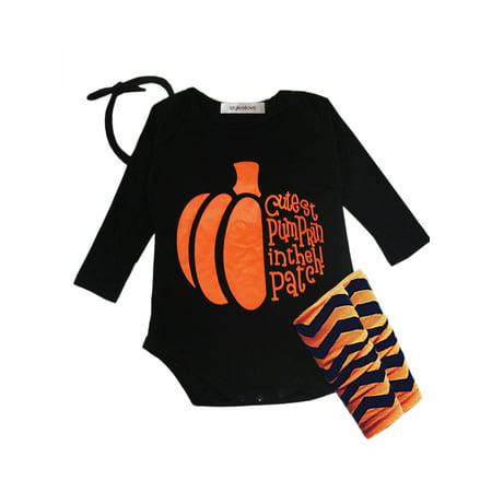 StylesILove Halloween Pumpkin 4-piece Baby Girl Costume Clothing Set (3-6 Months) - Walmart Baby Halloween Costumes