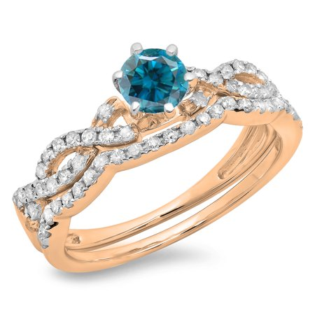 0.90 Carat (ctw) 14K Rose Gold Round Cut Blue & White Diamond Ladies Bridal Twisted Swirl Engagement Ring Matching Weddi