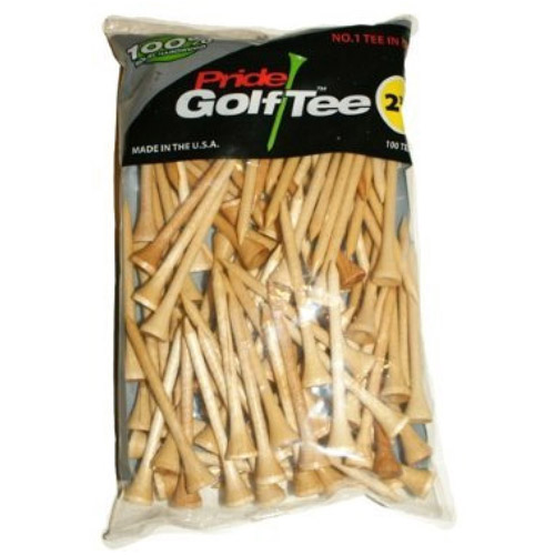 Pride Golf Tee, 2-3/4 inch Deluxe Tee, 100 Count Bag, Natural