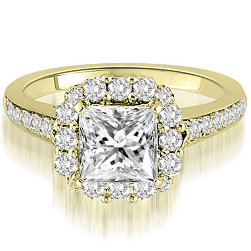1.17 CT.TW Halo Princess And Round Cut Diamond Engagement Ring in 14K White, Yellow Or Rose Gold