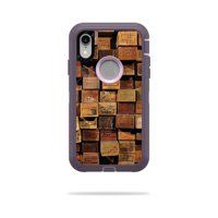 Skin for OtterBox Defender iPhone XR Case - Stacked Wood | Protective, Durable, and Unique Vinyl Decal wrap cover | Easy To Apply, Remove, and Change Styles