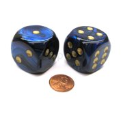 Chessex Scarab 30mm Large D6 Dice, 2 Pieces - Royal Blue with Gold Pips #DC3006
