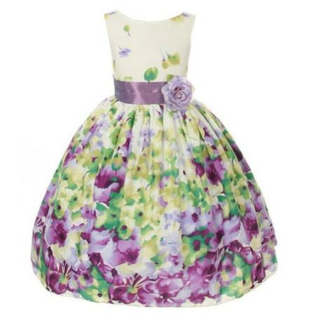2d0a8dbdb00 Kids Dream Little Girls Lavender Flower Print Sash Easter Dress 2T