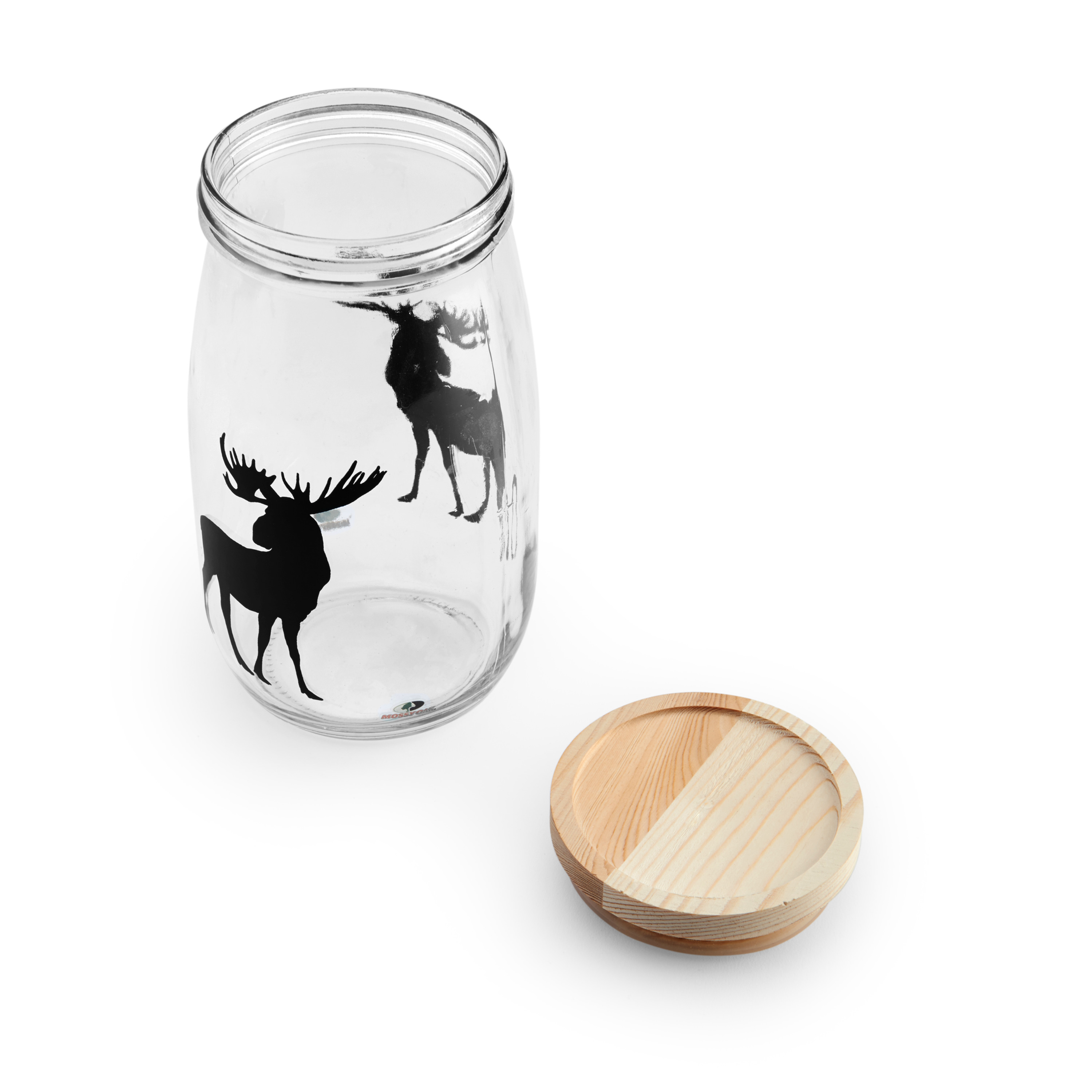 Mossy Oak Large Glass Canister With Wooden Lid Moose Decal