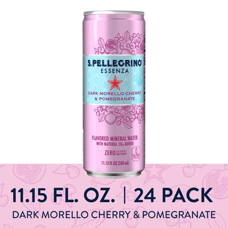 S.Pellegrino Essenza Dark Morello Cherry & Pomegranate Flavored Mineral Water, 11.15 fl oz. Cans (24