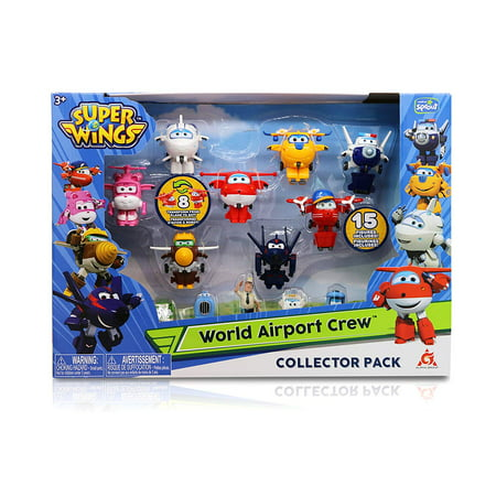 "Super Wings - Season 2 - Transform-a-Bots World Airport Crew | Collector Pack | 15 Toy Figures | 2"" Scale"