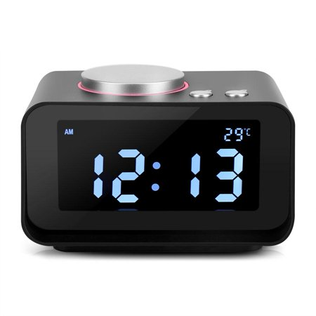 Digital Alarm Clock with Speaker Function, FM Radio Loud Alarm Clock, LCD Digit Display Alarm Clock Radio for Heavy Sleepers with Dual Alarm Clock,AUX in And Dual USB Charging Ports