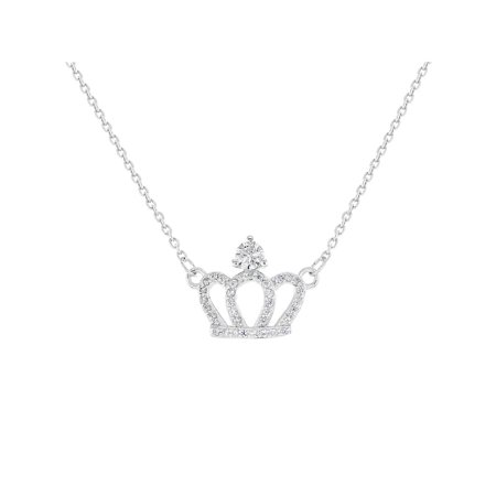 925 Sterling Silver Clear CZ Princess Queen Crown Necklace Girls Kids 16