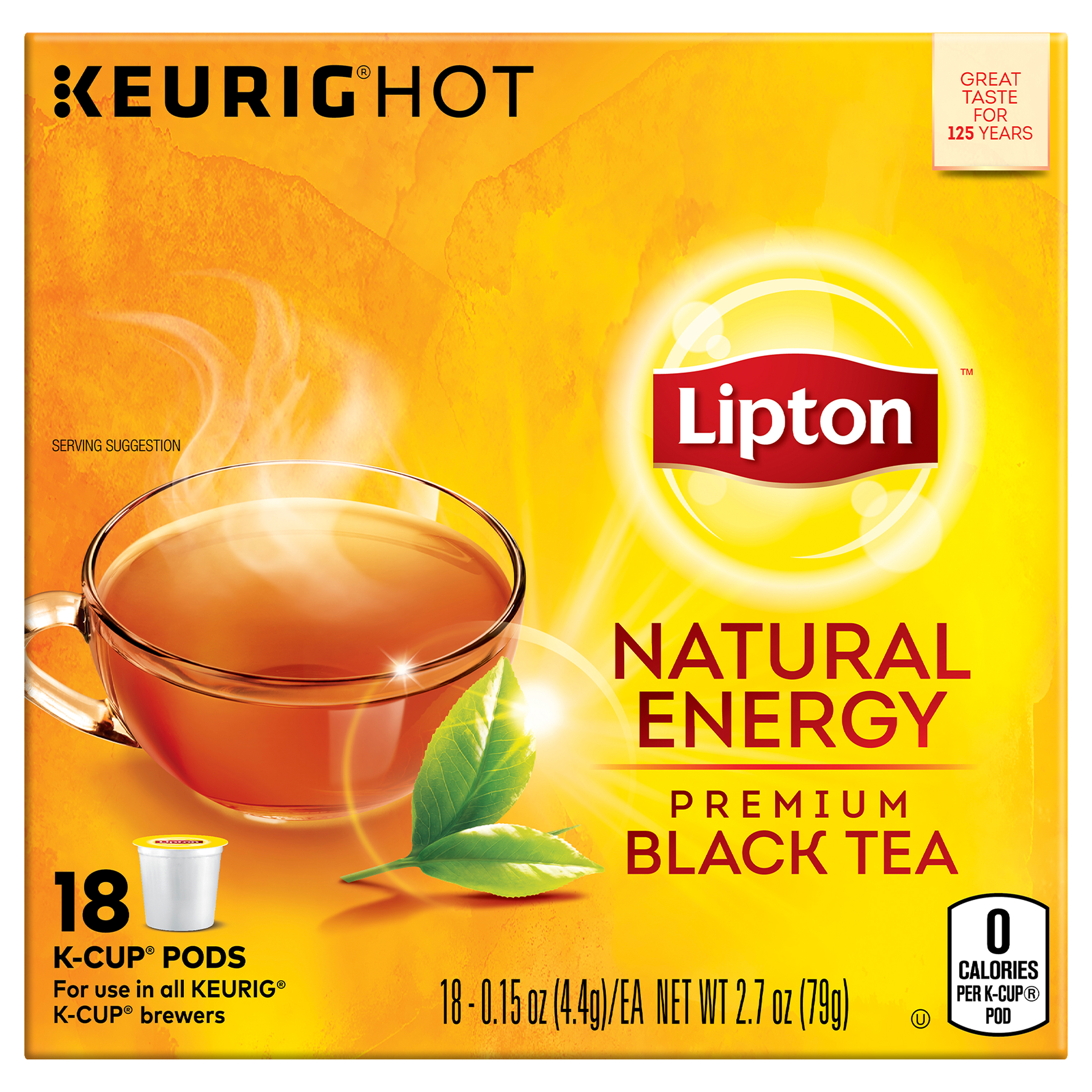 Lipton K-Cup Natural Energy Black tea K-Cup, 18 ct