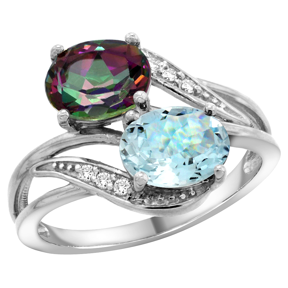10K White Gold Diamond Natural Mystic Topaz & Aquamarine 2-stone Ring Oval 8x6mm, sizes 5 10 by WorldJewels