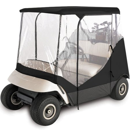 WATERPROOF SUPERIOR BLACK AND TRANSPARENT GOLF CART COVER COVERS ENCLOSURE CLUB CAR, EZGO, YAMAHA, FITS MOST TWO-PERSON GOLF CARTS