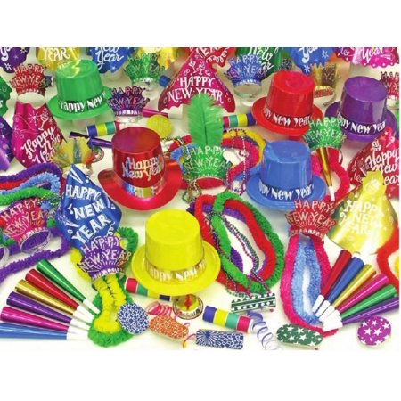Vibrant 20 persons New Years Eve party kit  hats, noise makers tiaras