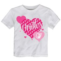 Baltimore Orioles Girls Toddler Bubbly Luv T-Shirt - White