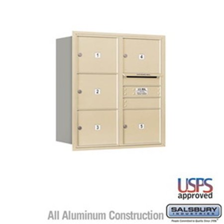 Salsbury Industries 3704S-1PZRP 4 Door High Unit 16.5 in. Single Column 4C Horizontal Mailbox with Rear Loading Private 1 PL4 - Stand Alone Parcel Locker, Bronze