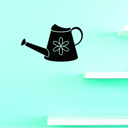 Custom Decals Watering Can Wall Art Size 12 X 18 Inches Color Black