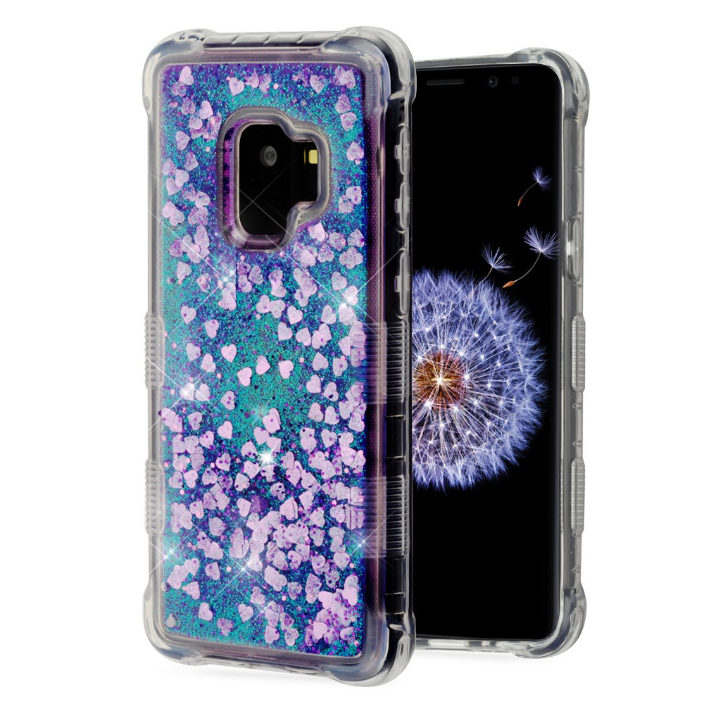 TUFF Series [Quicksand Waterfall] Flowing Liquid Floating Glitter Shockproof Case - (Purple Hearts) and Atom Cloth for Samsung Galaxy S9