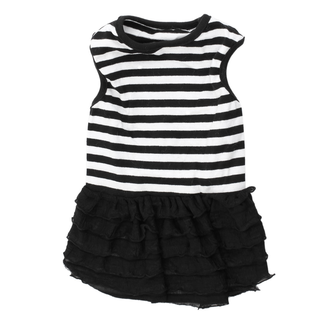 Tiered Sleeveless Stripe Printed Pet Dog Yorkie Dress Apparel Black White S