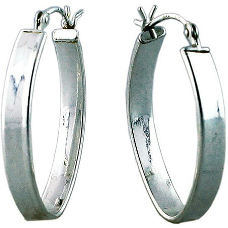 Silver Oval Flat Hoop Earring (Oval Crown Earring Setting)