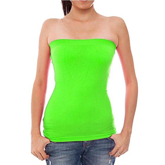 f1076ca0f9 hollywood-star-fashion - basic fashion junior womens plain strech seamless  strapless layer tube top - - Walmart.com