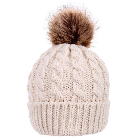 1059f9fa86b6e BASILICA - Women s Winter Soft Knitted Beanie Hat with Faux Fur Pom ...