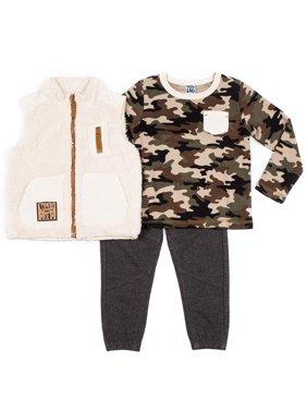 Little Lad Baby Toddler Boy Fleece Vest, Long Sleeve Camo T-shirt & Drawstring Pant, 3pc Outfit Set
