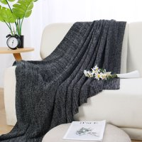 "100% Cotton Soft Warm Knit Throw Blanket for Sofa Home Decor 50x 60"",Gray"
